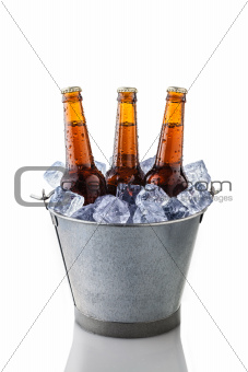 beer bottles in a bucket of ice