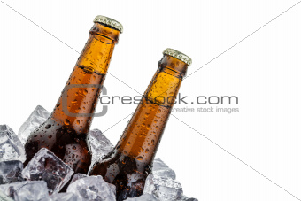 beers on ice with copyspace