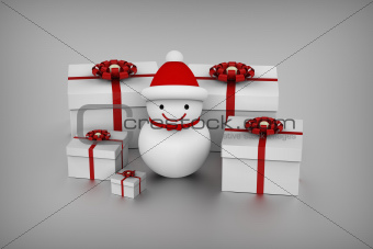 Snowman and gift boxes