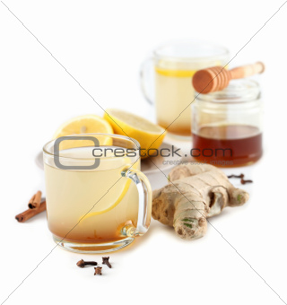 Ginger tea with honey lemon and spices