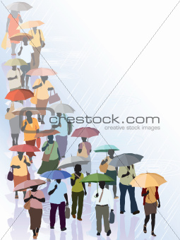 Crowd in rain