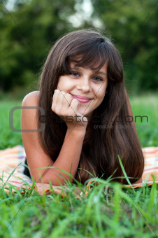 Brunette teen girl on nature