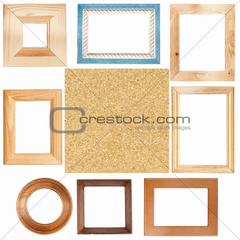 Wooden frames and cork board texture
