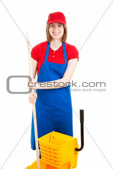 Cheerful Teenage Worker with Mop