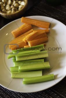 Sliced fresh celery and carrots