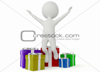 3d humanoid character with gift box