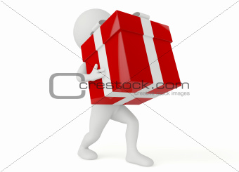 3d humanoid character hold a gift box