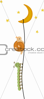 Centipede and snail climbing to the moon