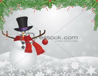Snowman with Scarf with Garland Background Illustration