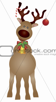 Santa Reindeer with Bow and Bell Illustration
