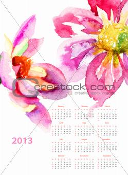 Dahlia flowers, calendar for 2013