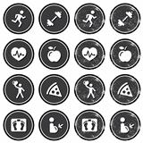 Health and fitness icons retro labels set