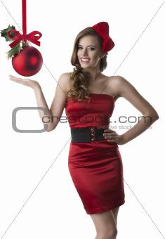 pretty girl with red dress has an happy expression