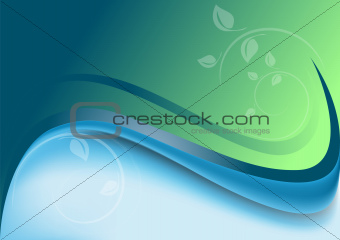 Abstract waves green blue background with white decor