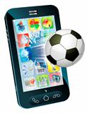 Soccer ball flying out of cell phone