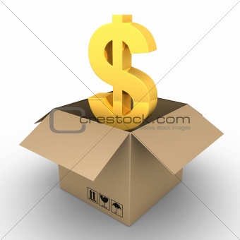 Dollar inside of open parcel