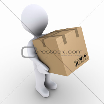 Person carries carton box