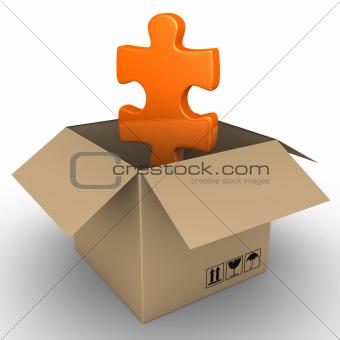 Puzzle piece in a parcel