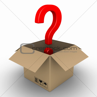 Question mark in an opened parcel
