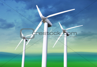 three white wind turbines