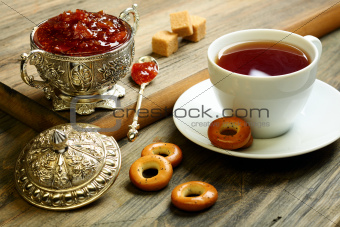 Tea with fig jam.