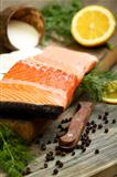 Fresh salmon with black pepper and dill.