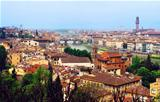 Arno river and much roofs of cities buildings at Florence.