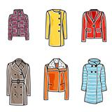 Women coats icon set
