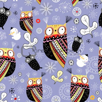 snow texture with owls and snowmen