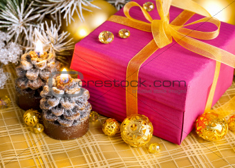 christmas gift with branch firtree tinsel