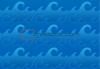 Vector seamless ocean waves pattern