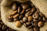 Coffee beans in a juta bag