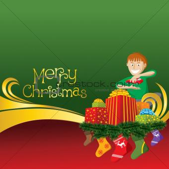 Christmas Card with Socks and Boy