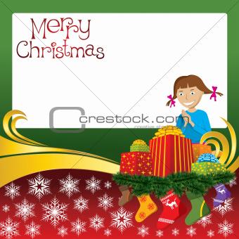 Christmas Card with Socks and Girl