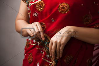 Beautiful Indian happy woman in red sari