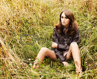 Portrait of Sexy Caucasian Woman in Grass