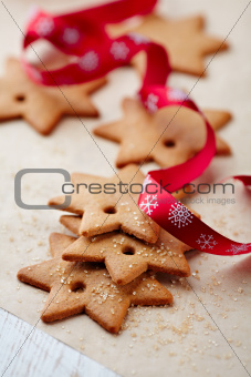 Gingerbread stars on bakery paper