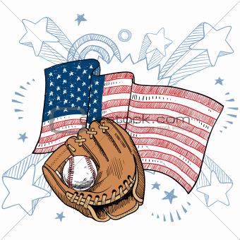 America loves baseball sketch