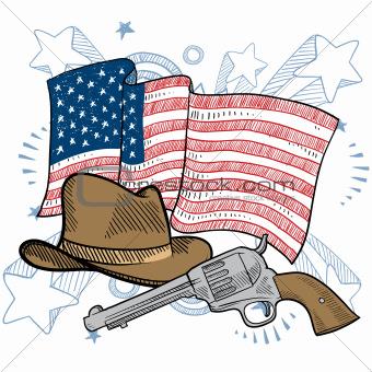 American wild west sketch