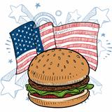 American style hamburger sketch