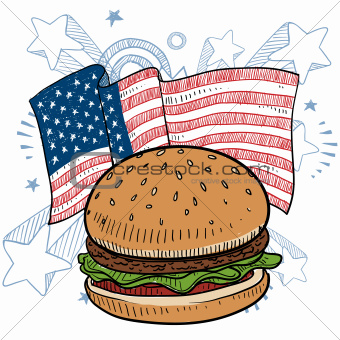 American style hamburger sketch