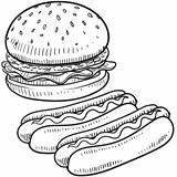 Hamburger and hot dog sketch