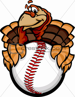 Baseball or Softball Happy Thanksgiving Holiday Turkey Cartoon Vector Illustration