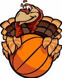 Basketball Happy Thanksgiving Holiday Turkey Cartoon Vector Illustration