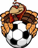 Soccer Thanksgiving Holiday Happy Turkey Cartoon Vector Illustration