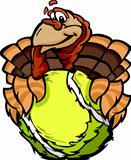 Tennis Happy Thanksgiving Holiday Turkey Cartoon Vector Illustration