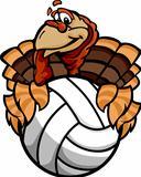 Volleyball Thanksgiving Holiday Happy Turkey Cartoon Vector Illustration
