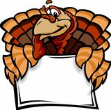 Happy Thanksgiving Holiday Turkey Holding Sign Cartoon Vector Illustration