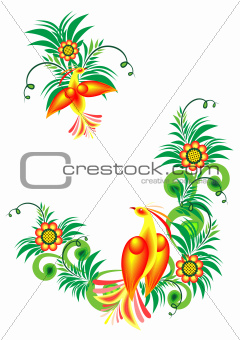 Abstract birds of paradise on floral branches