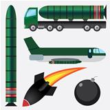 Bombs and missiles.